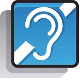 La présence d'une boucle auditive est signalée par ce logo bleu.