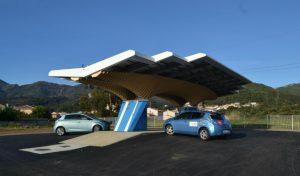 Première station à Bastia. Étape du maillage de l'île de Beauté avec des ombrières parasol. (source CorsicaSole)
