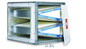 : Système passif d'épuration d'air pour conduits avec 16 m2 de milieu filtrant. (source IQair)