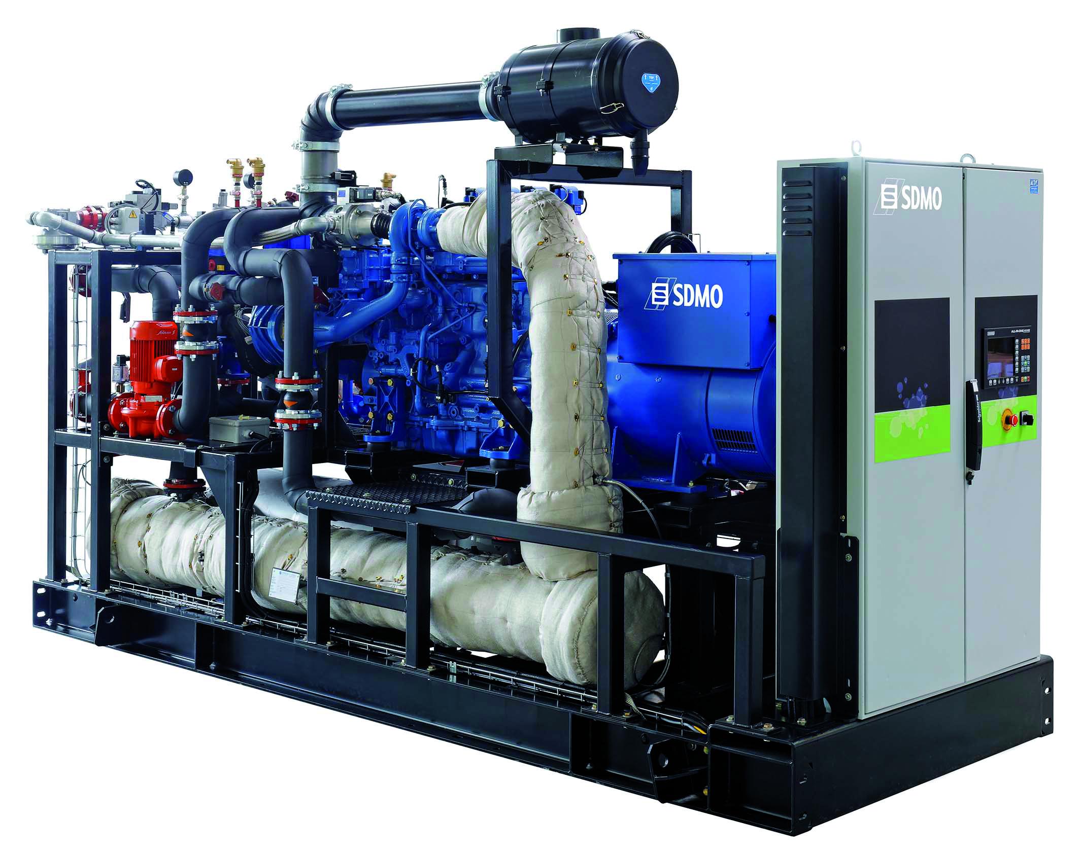 cogénératrice SDMO (gamme de 140 à 500 kWe) pour un rendement thermique de 40 % à 45 % et un rendement électrique de l'ordre de 35 % à 40 % (2 % à 5 % sont dédiés aux consommations des auxiliaires (source SDMO)
