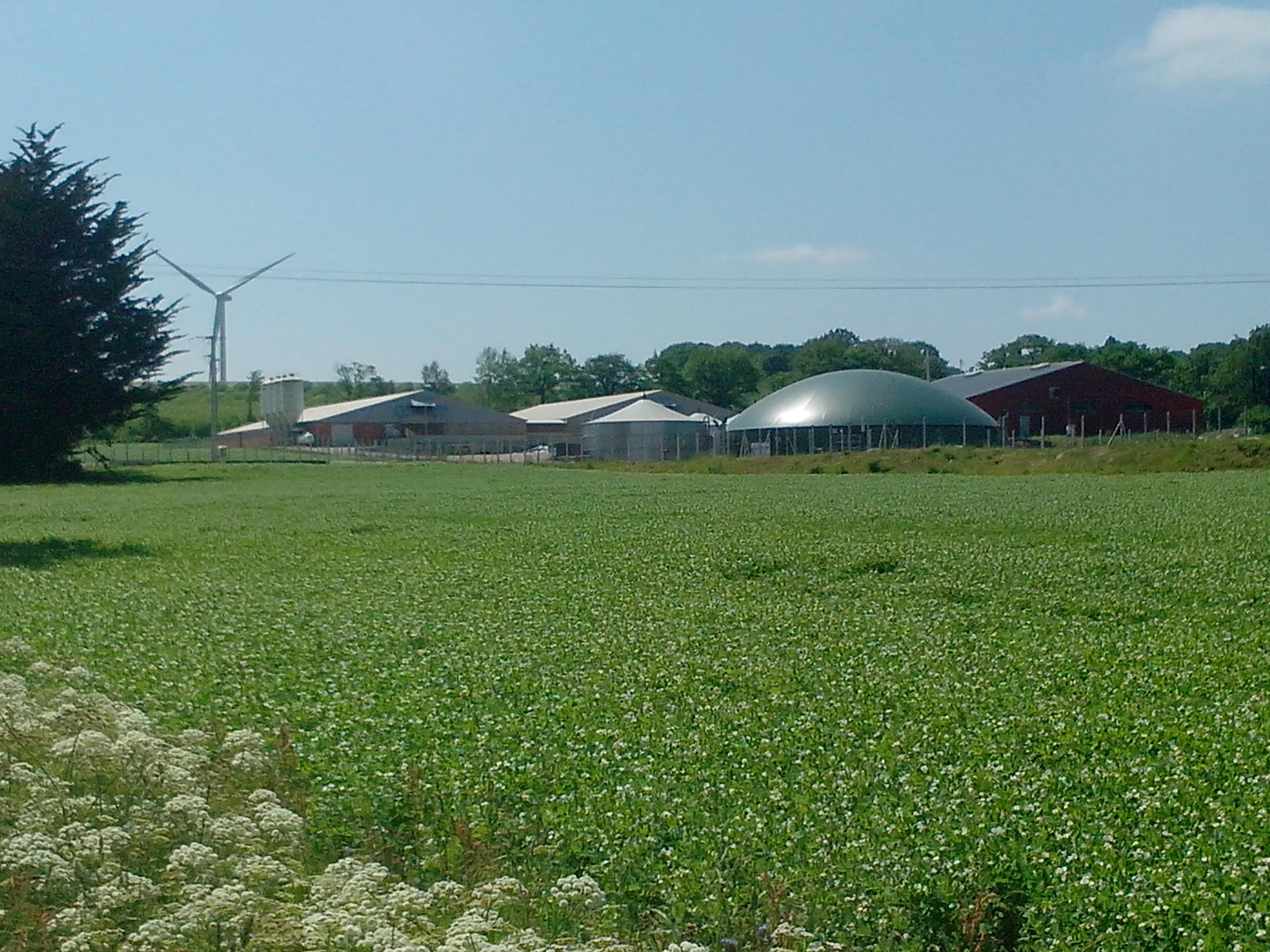 Unité de méthanisation de Sensienergies, Morbihan, Saint Nicolas du Tertre, puissance installée : 527kWél. Capacité de traitement: 14965 tonnes de déchets par an (source Evergaz)