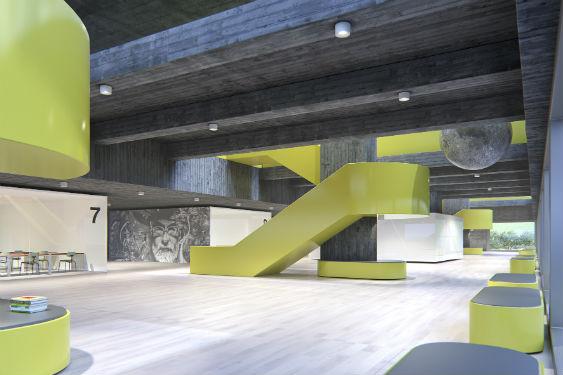 © ERCO GmbH, la nouvelle répartition de la lumière ultra-performante Extra wide flood enrichit l'éventail d'utilisations du Downlight Skim, notamment dans les bureaux.
