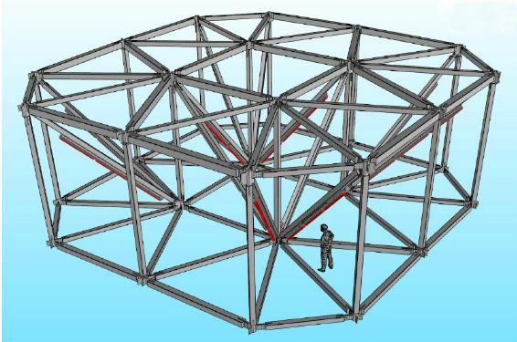 Au total, 4 500 luminaires, équipés chacun de deux tubes T5 de 1,50 m, ont été positionnés sur la structure et sont gradables séparément. La structure est composée de 128 zones (carrés) et offre deux allumages : soit en blanc froid, soit en blanc chaud. © 8'18'' – Rémy Cimadevilla
