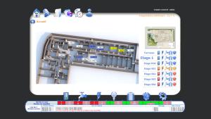 Vue d'accueil d'une supervision Niagara depuis un navigateur Web, avec bandeau d'alarmes et navigation par étapes