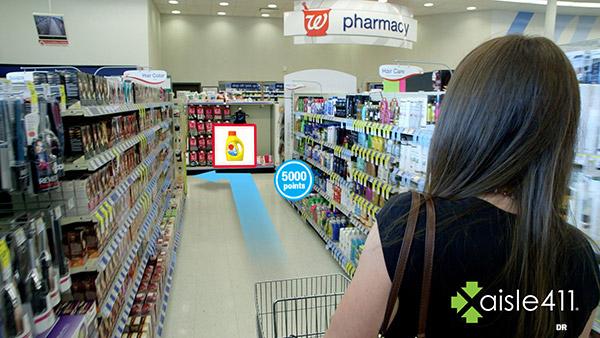Réalité augmentée : le client est amené vers les produits rapportant le plus de points sur sa carte de fidélité.