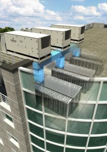Installation en toiture d'immeuble d'un système de free cooling à air avec échangeur évaporatif avec pulvérisation d'eau dans l'unité et sur l'échangeur de chaleur © Emerson Network Power