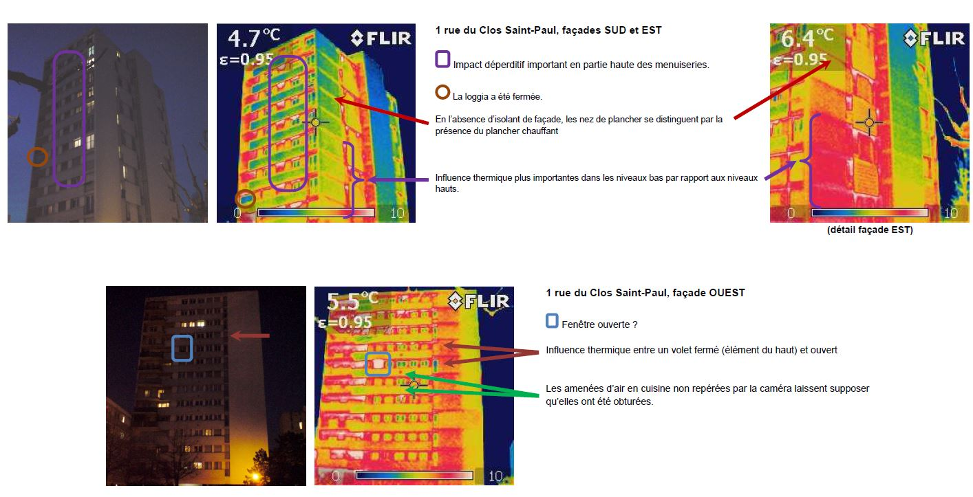 Mise en évidence des déperditions et anomalies sur une façade avec caméra thermique infrarouge. (source BEA Ingénierie)