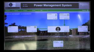 Écran du système PMS qui gère les charges et les arbitrages entre autoconsommation, stockage, effacement et réinjection du bâtiment Kergrid. (source Morbihan Énergies)