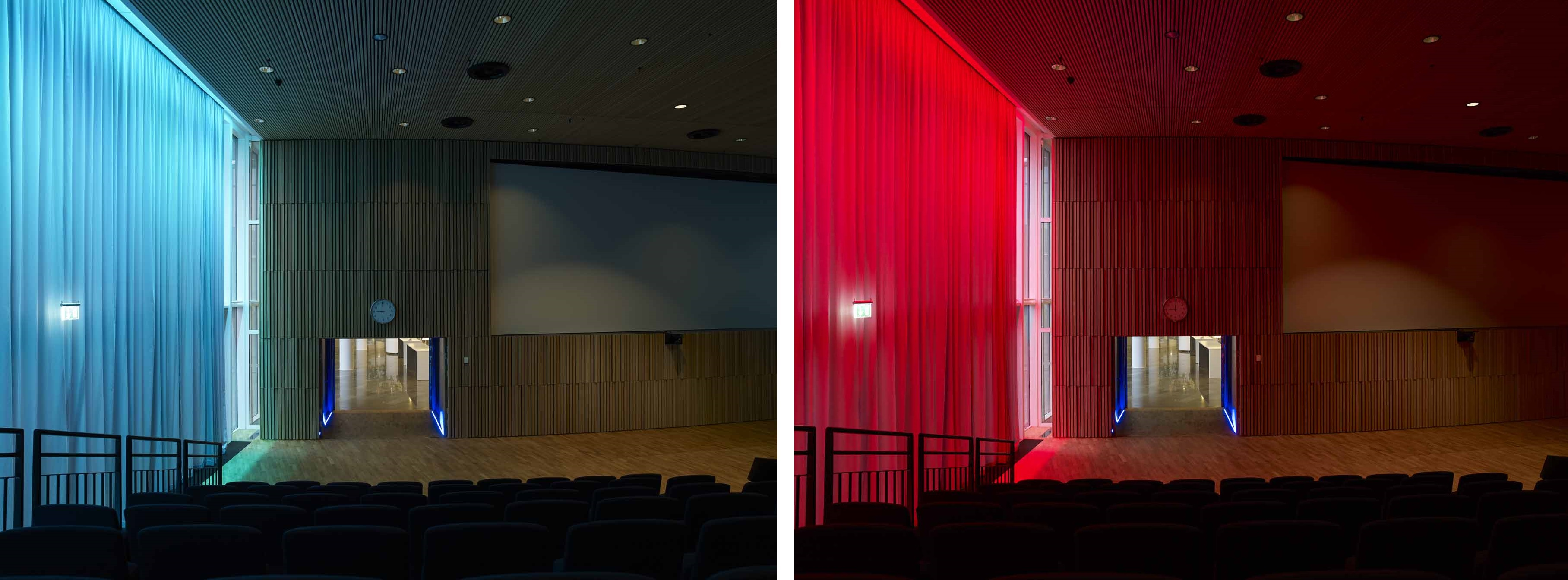 Dans l'auditorium, l'éclairage dynamique est réalisé à l'aide de la gamme LINEARlight Flex avec changement de couleurs. / In the auditorium, dynamic lighting is obtained by colors changes with LINEARlight Flex. / (c) OSRAM
