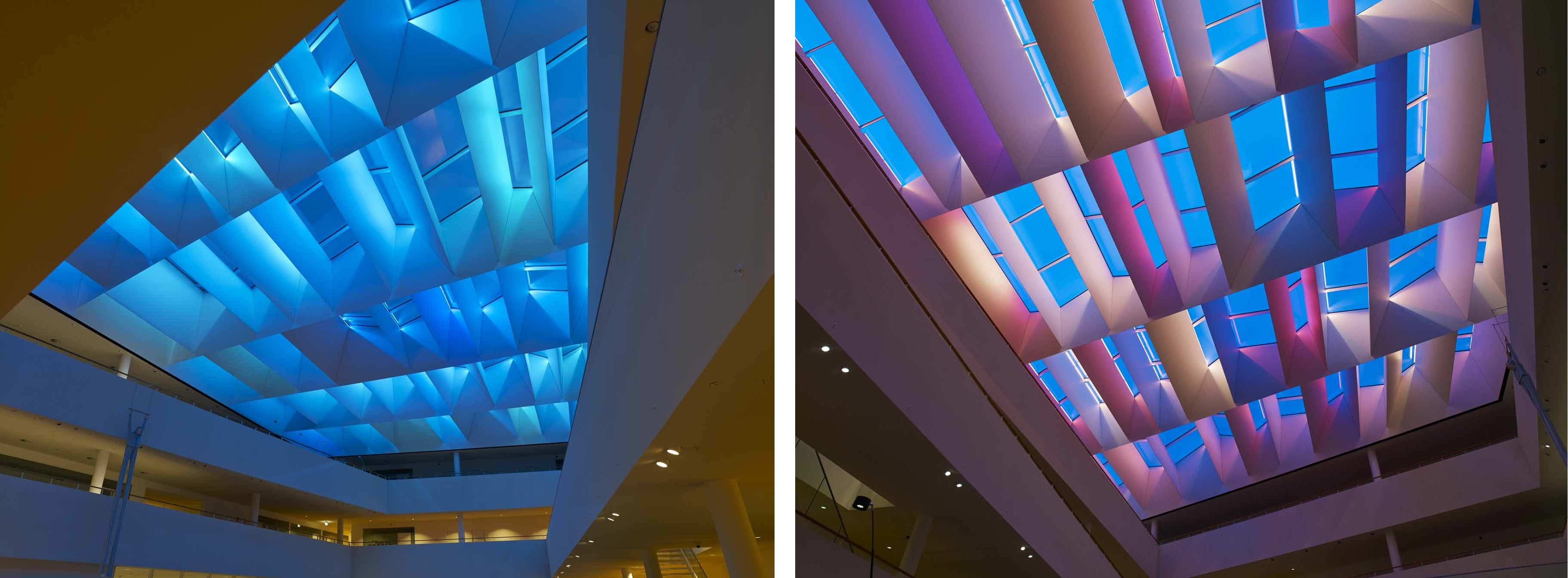 L'éclairage LED de l'atrium donne l'illusion d'un ciel bleu. / The LED lighting in the atrium gives the illusion of a blue sky. / (c) OSRAM