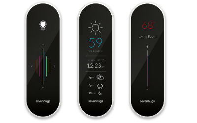 Télécommande universelle Sevenhugs dont l'interface graphique change selon le produit connecté visé © DR