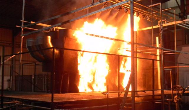 Essais en détection incendie par « brouillard d'eau ». (c) CNPP