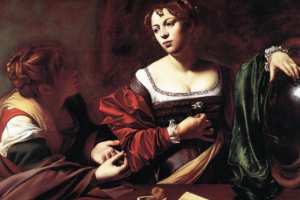 Michelangelo Merisi da Caravagio, Marthe et Madeleine, ou la Conversion de Madeleine (Rome 1598) conservé à l'Institute of Arts de Detroit (USA) Vision de la lumière