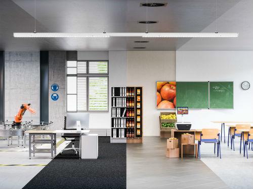 © Trilux, une ligne continue pour toutes les applications : E-Line LED est polyvalente et s'impose non seulement dans le domaine industriel, mais aussi dans les grandes surfaces et les magasins, les bureaux ou les établissements scolaires.