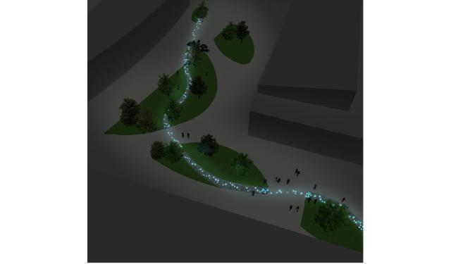 Clermont Auvergne Métropole. Rivière lumineuse à Clermont-Ferrand - Conception lumière : Dominique Colinot ©Nowatt Lighting