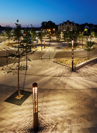éclairage extérieur public à Louviers © Technilum. Photo Julien Falsimagne