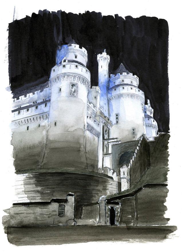 Aquarelle château de Pierrefonds © Anne Bureau